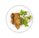 Steak meat grilled with salad made with radish, fresh lettuce an. D olive oil, in a white plate. Top view Stock Photo
