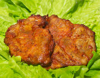 Steak meat grilled with salad. A tasty Steak meat grilled with lettuce Royalty Free Stock Photos