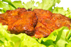 Steak meat grilled with salad. A tasty Steak meat grilled with lettuce Royalty Free Stock Photography