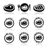 Steak - medium, rare, well done, grilled icons set Royalty Free Stock Images