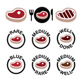 Steak - medium, rare, well done, grilled icons set Stock Photos