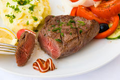 Steak medium, vegetable,salad Royalty Free Stock Photo