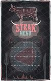 Steak menu chalkboard design Stock Photography
