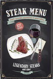 Steak menu chalkboard design with hand drawn illustration of a fillet mignon steak on a plate. With glass of wine and cutlery Stock Photos
