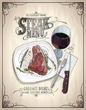Steak menu design concept with graphic illustration of a fillet mignon steak on a plate Stock Image