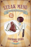 Steak menu design with graphic illustration of a fillet steak on a plate and glass of wine Stock Photos