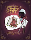 Steak menu design with hand drawn graphic illustration of a fillet mignon steak Royalty Free Stock Photos