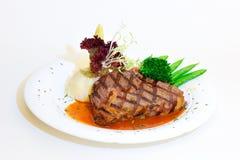 Steak mit Kartoffeln Lizenzfreie Stockfotos