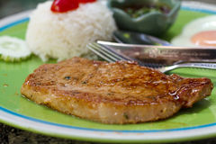 Steak mit Reis Lizenzfreies Stockbild