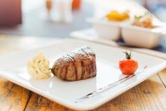 Steak mit Sonnenuntergang Lizenzfreies Stockfoto