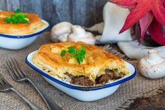 Steak and mushroom pie royalty free stock images