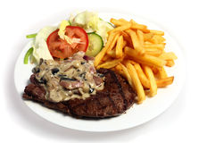 Steak and mushroom sauce Royalty Free Stock Photo