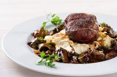 Steak with mushroom sauce Royalty Free Stock Photo
