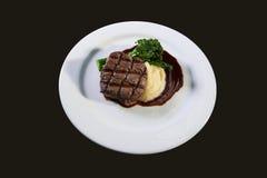 Steak och potatisar Fotografering för Bildbyråer