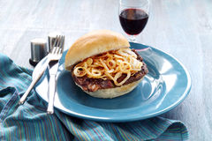 Steak And Onion Burger Royalty Free Stock Photo