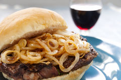 Steak And Onion Burger Royalty Free Stock Images