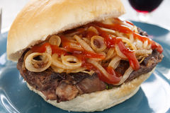 Steak And Onion Burger Stock Photography