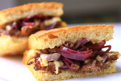Steak and onion sandwich Royalty Free Stock Photo
