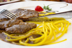 Steak and Pasta Royalty Free Stock Photography