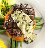 Steak With Peppercorn Sauce Stock Photo