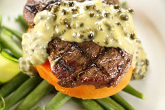 Steak With Peppercorn Sauce Royalty Free Stock Photography