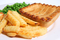 Steak Pie & Chips Royalty Free Stock Images