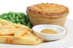 Steak Pie & Chips Stock Photography
