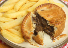 Steak Pie & Chips Stock Images