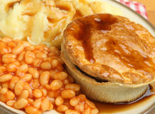 Steak Pie with Mash and Baked Beans Royalty Free Stock Images