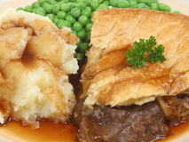 Steak Pie, Mash and Peas Royalty Free Stock Image