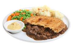 Steak Pie with Mash and Vegetables Stock Photography