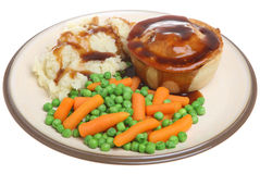 Steak Pie, Mash, Vegetables and Gravy Royalty Free Stock Photography