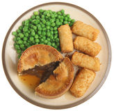 Steak Pie Meal Isolated on White Stock Photos