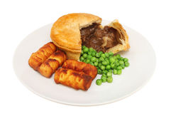 Steak pie and veg Royalty Free Stock Images