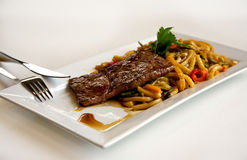 Steak on plate stock images