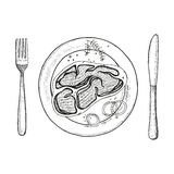 Steak on a plate with a fork and knife. Vector hand drawing. Isolated Royalty Free Stock Photos