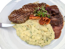 Steak Plate. With meat and vegetables Stock Photo