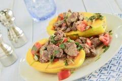 Steak Poke Papaya Royalty Free Stock Image