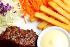 Steak pork black pepper and sausage Stock Photos