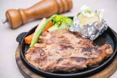 Steak pork chop with mashed potato Stock Image
