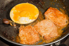 Steak Pork and fried egg Royalty Free Stock Image