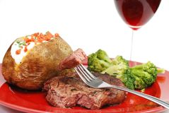 Steak and Potato Closeup Stock Images