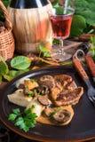 Steak with potato dumplings and forest mushroom sauce Stock Photos