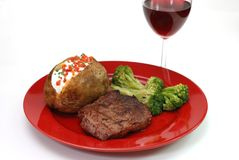 Steak and Potato Isolated Royalty Free Stock Photography