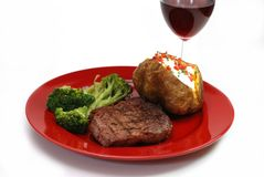 Steak and Potato with Red Wine Stock Image