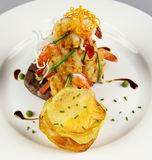 Steak Prawns And Chips Royalty Free Stock Images