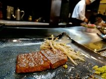 Steak Premium legendary top grade Kobe matsusaka Japanese beef w. Ith bean sprouts stock photo