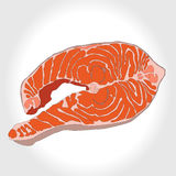 Steak of red fish salmon for. Sushi food menu vector illustration Isolated white background Stock Photos