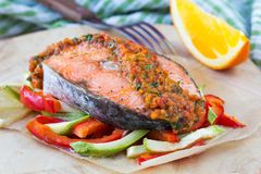 Steak red fish salmon on vegetables, zucchini and paprika Stock Images