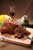 Steak with red wine Stock Images